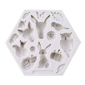 Lnlyin animaux de la forêt Moule en silicone Fondant Moules à gâteaux Moule Moule à modelage et de sculpture, Silicone, Blanc 2, Taille unique