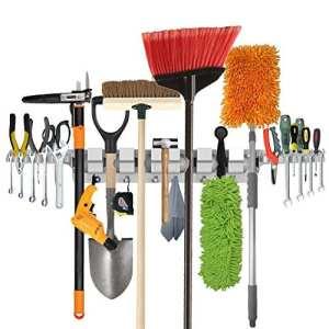 Porte-outils à usage professionnel, porte-outils pour maison, jardin, garage, accrocheur de rangement et d'organisation avec 6 positions, 6 crochets et 2 porte-outils