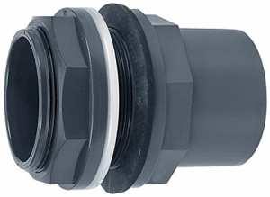 Raccord réservoir PVC avec filetage extérieur & manchon adhésif (20-110mm) Ø 90/110 x 90 mm (M113) gris
