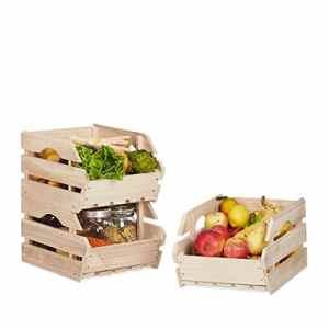 Relaxdays Cagette en bois empilable boîte rangement nature lot de 3 caisses HxlxP: 20 x 27,5 x 38 cm, nature