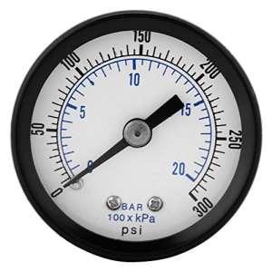 0-20bar / 0-300psi 1/8″ BSPT filetage Manomètre de pression pour Eau Liquide Carburant Huile Air, Manomètre de haute précision