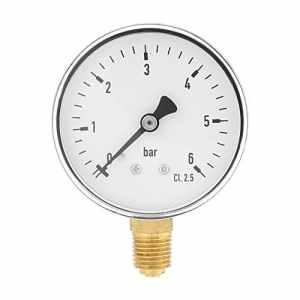 1/4″NPT 0-6 bar Manomètre de pression d'eau d'air Manomètre à montage latéral pour l'instrument de cadran d'huile d'air d'eau