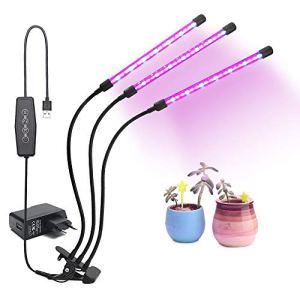 27W LED élèvent la lumière,minuterie automatique intelligente 54Leds élèvent la lampe avec minuterie 3/6/12H,6 niveaux de gradation,commutateur de contrôle de division pour plantes de jardin intérieur