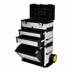 Caisse valise coffre boîte à outils à roulette 56,5 x 35 x 77-92 cm(L xlx H)