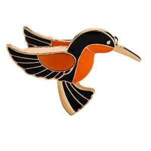 Lnlyin 1PCE Broche Dessin animé Animal badge en émail broches Oiseaux Broche pour femme Lady classique accessoire de mode Pull Décoration broches, Noir , 4.3*3.2cm