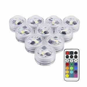LUXJET® Lot de 10 Bougies Led,RGB Submersible Imperméable LED avec télécommande Multi-Coleur/Unicolore pour mariage, Fête, Anniversaire, Piscine