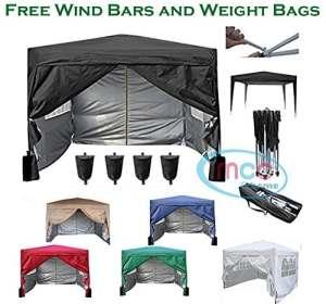 Mcc@home Gazébo/kioske/pavillon/ tente/tonnelle/auvent/abri de jardin résistant à l'eau, 3x3m, couleur noire avec couche protectrice argentée, 2 barres pare-vent et sacs de lestage