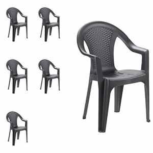 Mojawo Lot de 6 chaises de jardin empilables aspect rotin Anthracite