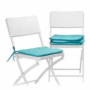 Relaxdays Galette Boucles Chaise Lot de 4 Coussins lavables 40 x 40 cm Jardin intérieur extérieur, Bleu, Polyester, 38x38x2 cm