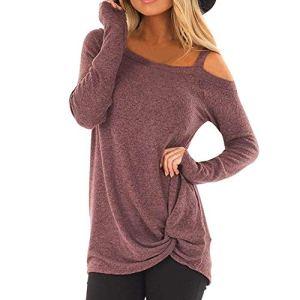 Rovinci_Femme Sweat Tops Pullover Blouse Sweatshirt Dames De Mode Casual Manches Longues Couleur Unie Épaule sans Bretelles Loose