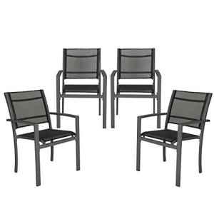 TecTake Lot de 4 chaises de jardin camping terrasse balcon – diverses couleurs au choix – (Gris foncé | no. 402066)