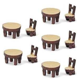 Wiwi.f 5 Ensembles de Mousse Micro-Petites Plantes succulentes Ornements Table Ronde et Chaise en résine Artisanat Petits Ornements matériel de Bricolage