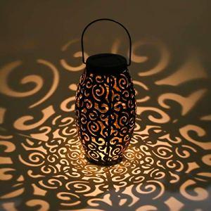 AYOUYA Led Lanterne Solaire Suspendue Lanterne de Terrasse Étanche Lampe Extérieur de Jardin Vintage en Métal Lumière d'Ambiance Ovale pour Décoration de Parc Jardin Allée Terrasse Cour Patio