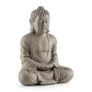 Blumfeldt Siddhartha • Sculpture 60 cm • Ciment et fibre de verre aspect pierre • Supporte les UV, les intempéries et le gel • Positionnement sûr • Nombreuses possibilités d'installation