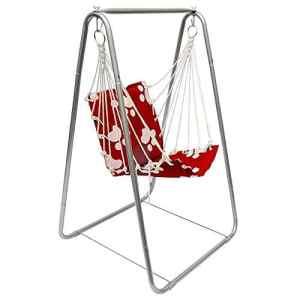eyepower Balançoire Siège + Support en fer | pour Enfants poids supporté max 50Kg | chaise avec dossier en nylon rembourrée pour etre accroché et se balancer | pour la maison et le jardin | Rouge avec motifs blancs