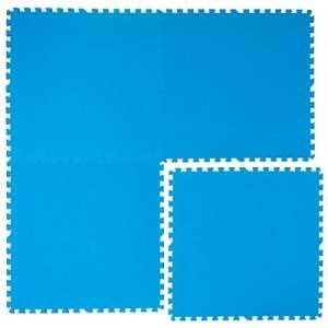 Eyepower Tapis Puzzle EVA pour recouvrir protéger Fond Bord Piscine Douche 1cm d'épaisseur Moelleux antidérapante imperméable 2,6qm Extensible Bleu