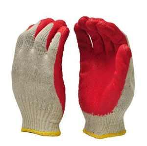 GF Gants 3106–300Taille unique en latex trempage paume nitrile revêtu économique Corde Tricot Gants de travail–Rouge (lot de 300)