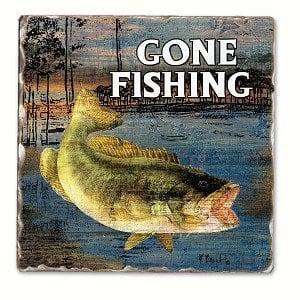 Gone Fishing Bass Single Tumbled Tile Coaster