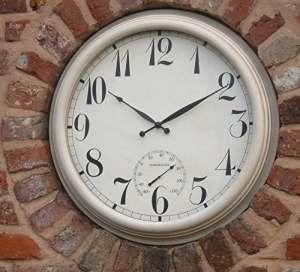 Grande Horloge Murale en Métal Jardin Extérieur Thermomètre 61cm 61cm Couleur Crème 1044