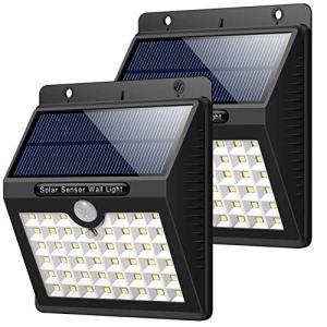 HETP Lampe Solaire Extérieur Jardin, 46 LED éclairage Solaire Extérieur avec Détecteur de Mouvement étanche sans Fil LED Sécurité Lumière Solaire Puissant 3 Modes Intelligentes Luminaire – 2 Pack