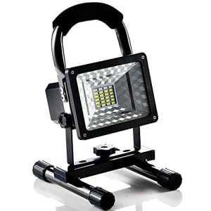 Lampe Chantier 15W Super Lumineuse, Projecteur LED Torche Portable et Rechargeable pour Ouvrier, Bricoleur, Tourneur et Travailleur (Noir)