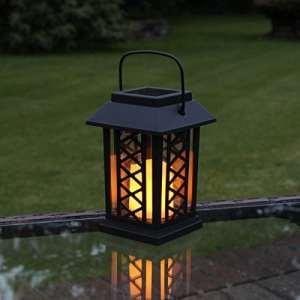 Lanternes Solaires Extérieures Décoratives Noir Mat avec Bougie LED Effet Vacillant (Pile Rechargeable Incluse) Waterproof par Festive Lights (M (17,5cm))