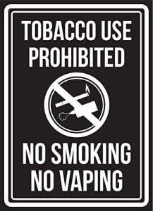 PeteGray Panneaux en métal en Aluminium avec Inscription en Anglais « Tobacco Use Interdit No Smoking No Vaping » Noir et Blanc