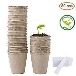 Pots de Tourbe, rond, 6 cm, Biodégradables, avec Étiquettes pour Plantes, 80 Pièces