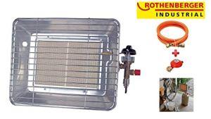 Rothenberger Industrial 035984F Chauffage Radiant Brasero Infrarouge de Chantier – Version France, 4200 W, Gris