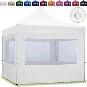 TOOLPORT Tente Pliante 3×3 m – 4 côtés Aluminium Barnum Chapiteau Pliant Tonnelle Stand Paddock Réception Abri Blanc
