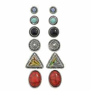 Yesiidor Bohème de boucles d'oreilles rétro Forme géométrique Mode Boucles d'oreilles Accessoires Ensemble de bijoux
