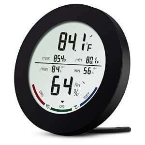 AMIR Thermomètre Intérieur, Thermomètre Hygromètre Digital, Moniteur de Température et d'humidité sans Fil avec écran LCD, Min/Max Records, Indicateur de Confort, Station Météo pour Maison et Bureau