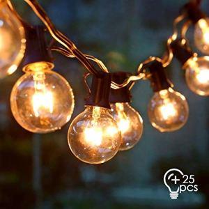 Amzdeal Ampoule Lumineuse – Ampoule Guinguette Remplaçable avec25 Pcs Ampoule G40 E12 Imperméable IP44 Décoration de Mariage Anniversaire Soirée Festivale pour Jardin Maison Terrasse Café