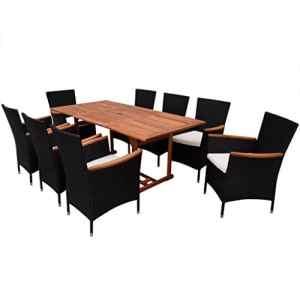 binzhoueushopping Jeu de mobilier de Jardin 17 pcs Design élégant Noir Haute qualité Résine tressée Dimensions 180 x 90 x 74,5 cm (L x l x H)