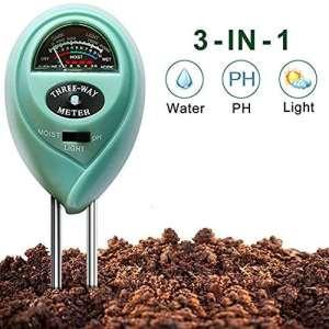 Bodentester Bodenmessgerät Bodenfeuchtigkeitsmessgerät PH Wert Temperatur Luftfeuchtigkeit Sonnenlicht Messgerät Lichtstärke Meter für Garten, Pflanzen Wachstum, Rasen, Intérieur Extérieur