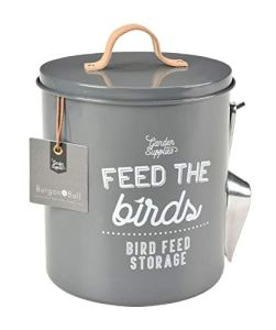 Burgon and Ball Récipient en émail –Rangement pour graines/ nourriture pour oiseaux M gris charbon