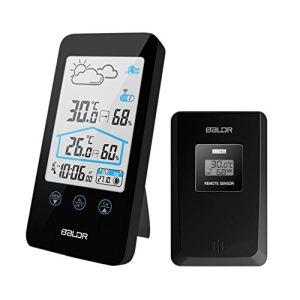 CamGo Station météo sans Fil extétieur à Domicile LCD Température Humidité intérieure &extérieure, Alarme et Snooze Noir