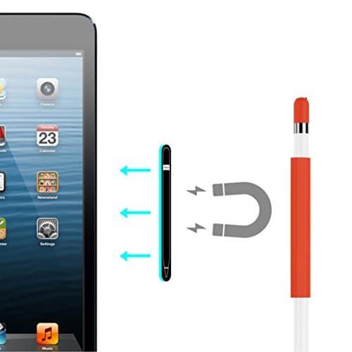 Douille magnétique pour Apple Pencil, Silicone Support Accessoires pour Apple iPad Pro Crayon (Pencil Apple non inclus), Rot, wie gezeigt