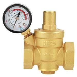 Hilitand DN25 Régulateur Reducteur de Pression d'eau Réglable, Vanne de Réduction de Pression d'eau en Laiton + Manomètre Jauge de Pression d'eau