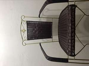 opop Outdoor Leisure Wrought Iron Rattan Chair Handmade Rattan Woven Solid Steel Bounce Chair Backrest Special Material