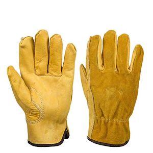 QEES YLST15 Gants de jardinage professionnels en cuir pour sécateur de roses, gants de jardinage anti-épaississement pour plantation de fleurs, élaguage, gants en cuir pour homme, L: 7.5″ length, 1