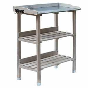 RM Design Table de plantation en bois avec plateau en métal et 2 étagères, résistante, pour jardin, balcon, terrasse, 76x38x91cm 76 x 38 x 91 cm gris