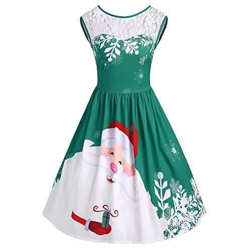 Saihui_Women Christmas Dress – Chemise – Femme – Vert – 36 FR Small