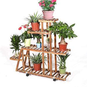 UNHO Porte Pot de Plantes Bois à Roulettes avec 5 niveaux pour Décorer Jardin Balcon Terrasse Etagère Fleur Echelle Décorative Un véritable accroche-regard à l'intérieur ou extérieur 88 x 25 x 98 cm