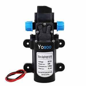 Yosoo Pompe à eau automatique haute pression avec diaphragme, pour camping-car, caravane, bateau, jardin et camion, 12 V CC, 60 W, 115 psi, 5L/min