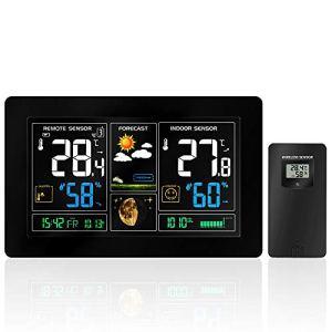ZILI Station météo sans Fil avec écran Couleur Haute définition, alarmes, prévisions météo, alertes de température, Moniteur d'humidité, réveil avec capteur extérieur pour la Maison, Le Bureau