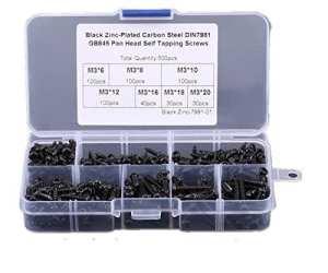 500pcs/lot M3Phillips Pan Head Vis autotaraudeuses forage Vis Assortiment kit en acier carbone avec étui de rangement Box