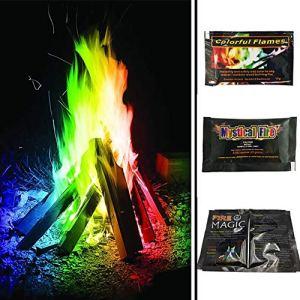 5starservices14 Lot de 14 sachets de Flammes colorées en Forme de feu Magique à Changement de Couleur pour cheminée, Patio, activités de Plein air, Carnaval, Fournitures de fête (10 g)