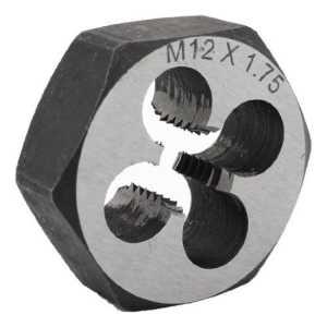 Amico 36mm Diam 9mm d'épaisseur M12 x 1,75 Hex d'outils à main de Die filetage métrique