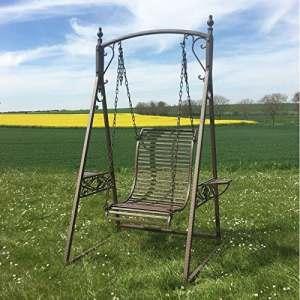 Balancelle 1 Personne de Charme Balançoire pour Adultes et Enfants Mobilier de Jardin en Fer 101x135x200cm